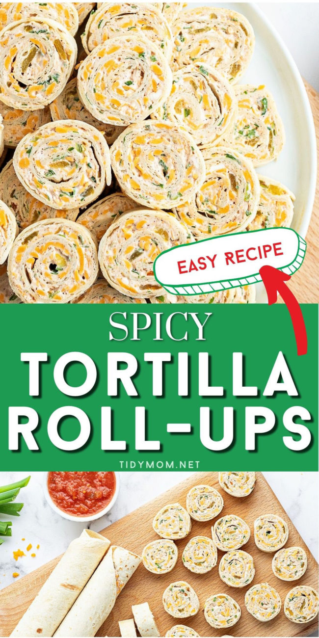 tortilla roll ups on a wood board and white plate