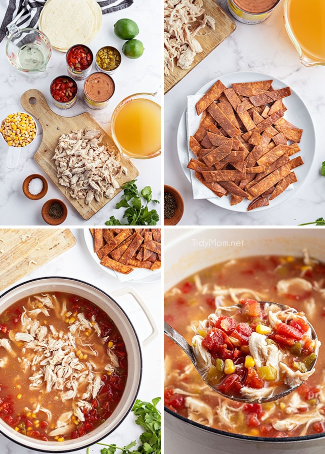 how to make tortilla soup photo collage