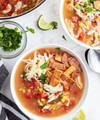 overhead shot of two bowls of soup