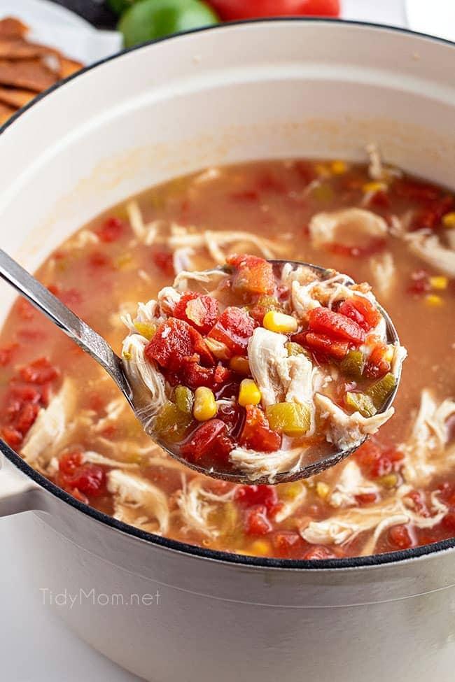 a ladle full of tortilla soup