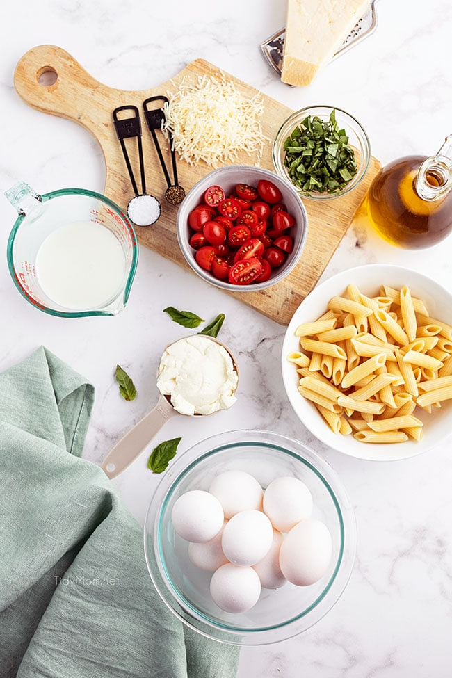 frittata ingredients on a counter