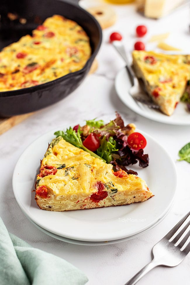 frittata slice on a white plate