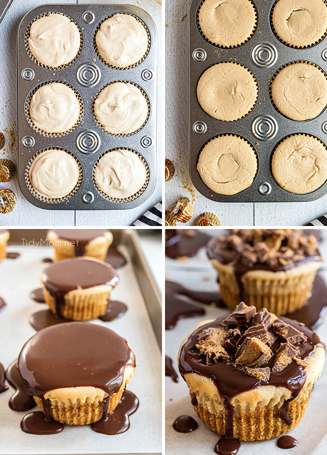 steps showing how to make mini cheesecakes