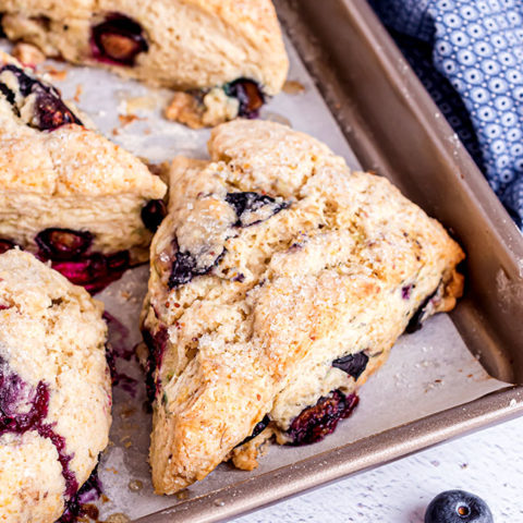 a pan of baked blueberry scones