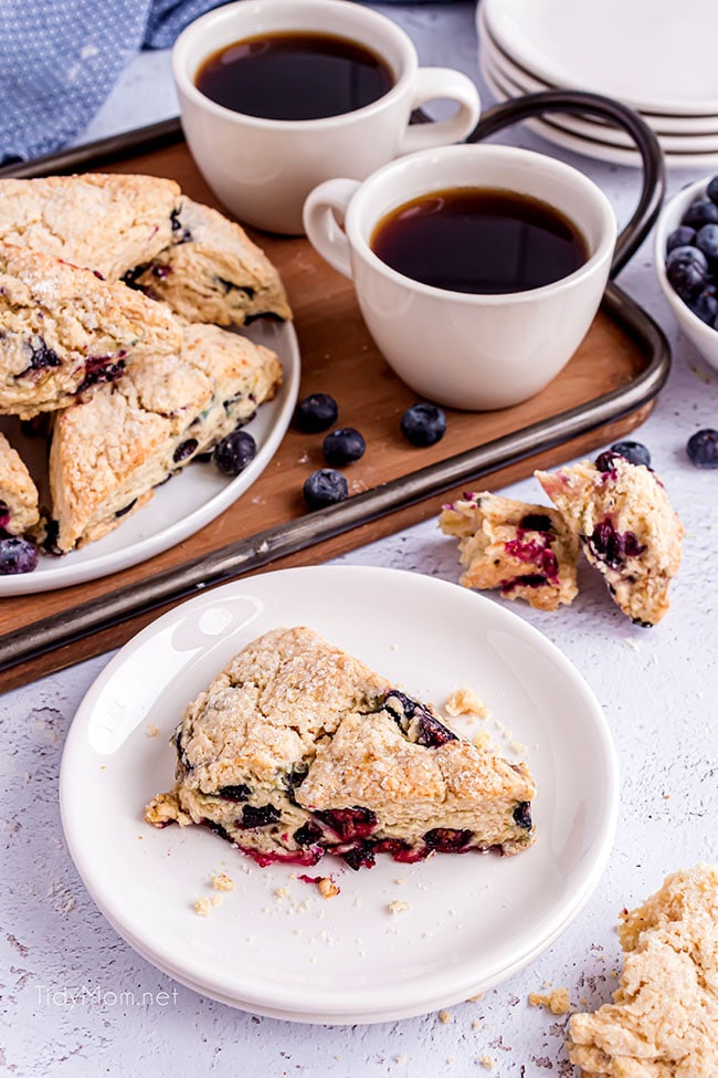 scones and coffee on a tray