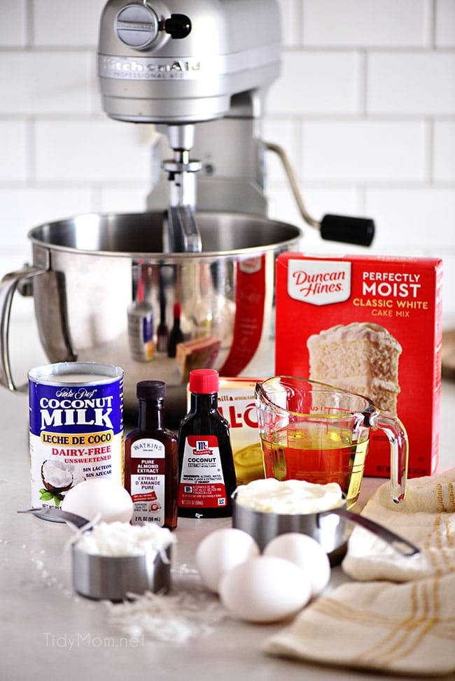 cake ingredients and kitchenaid mixer