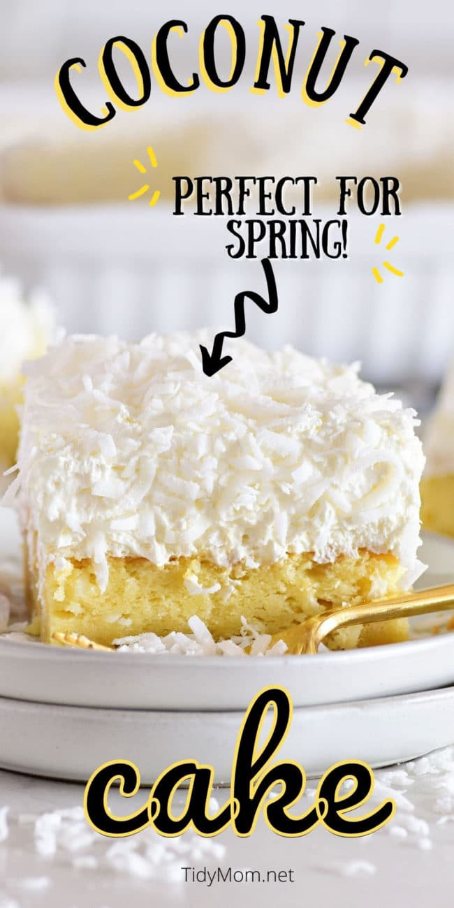 close up of coconut cake with fluffy frosting