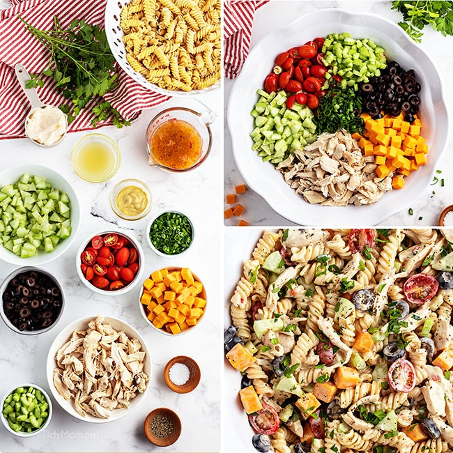 ingredients needed for making pasta salad