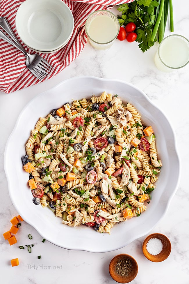 overhead shot of a bowl of pasta salad with chicken