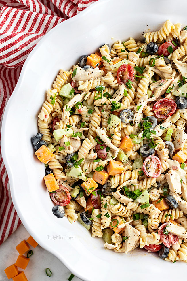 overhead shot of a bowl of pasta salad
