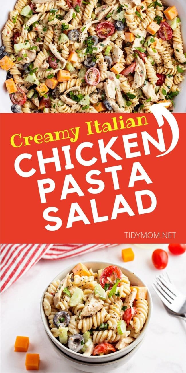 bowl of pasta salad with chicken