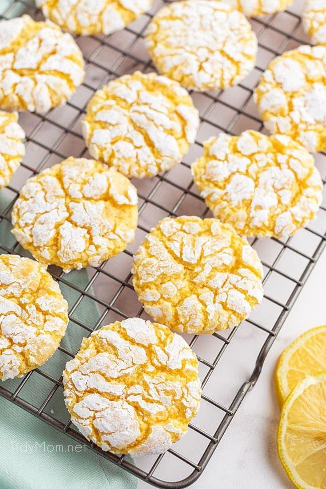 lemon cookies on a cooling rack