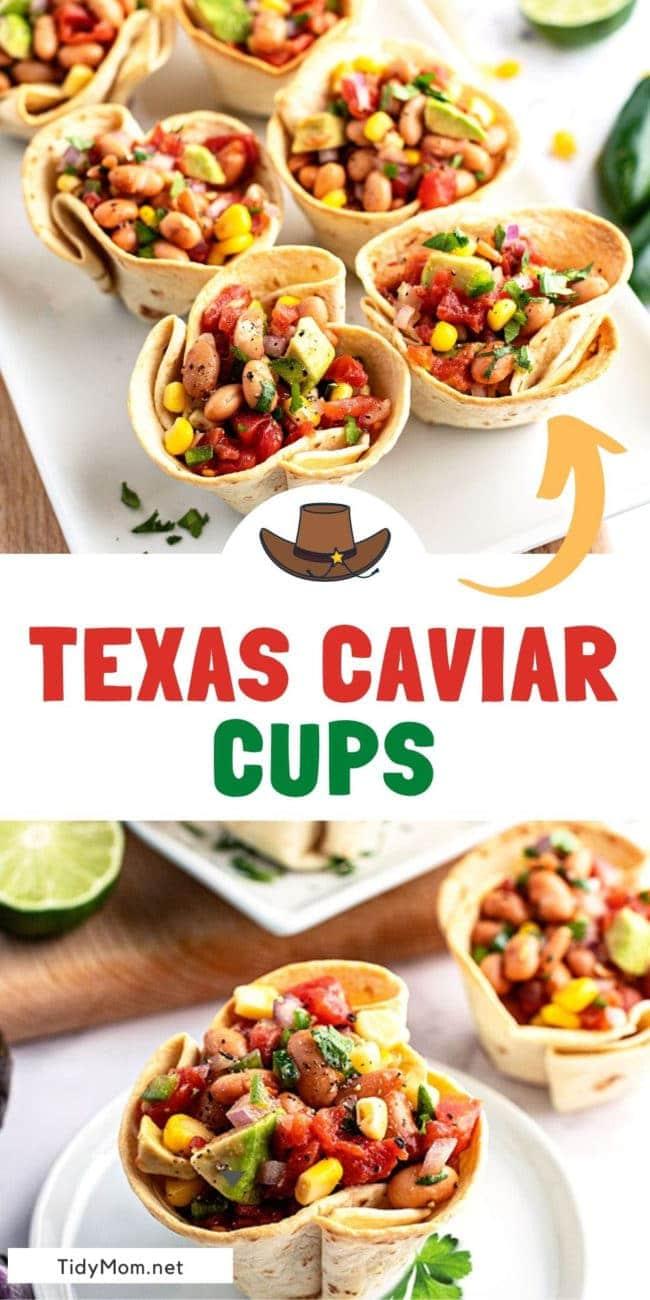texas caviar cups on a platter