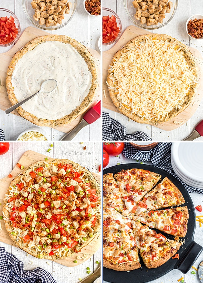 photo collage of steps for making homemade chicken bacon ranch pizza