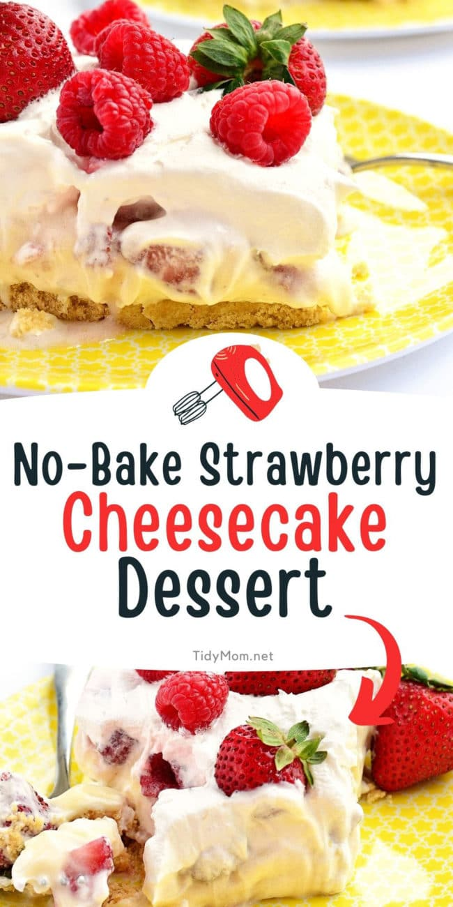 servings of no-bake strawberry cheesecake on a yellow plate