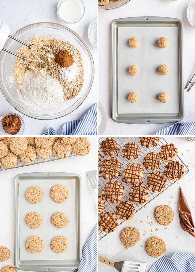 mixing and baking eggless oatmeal cookies