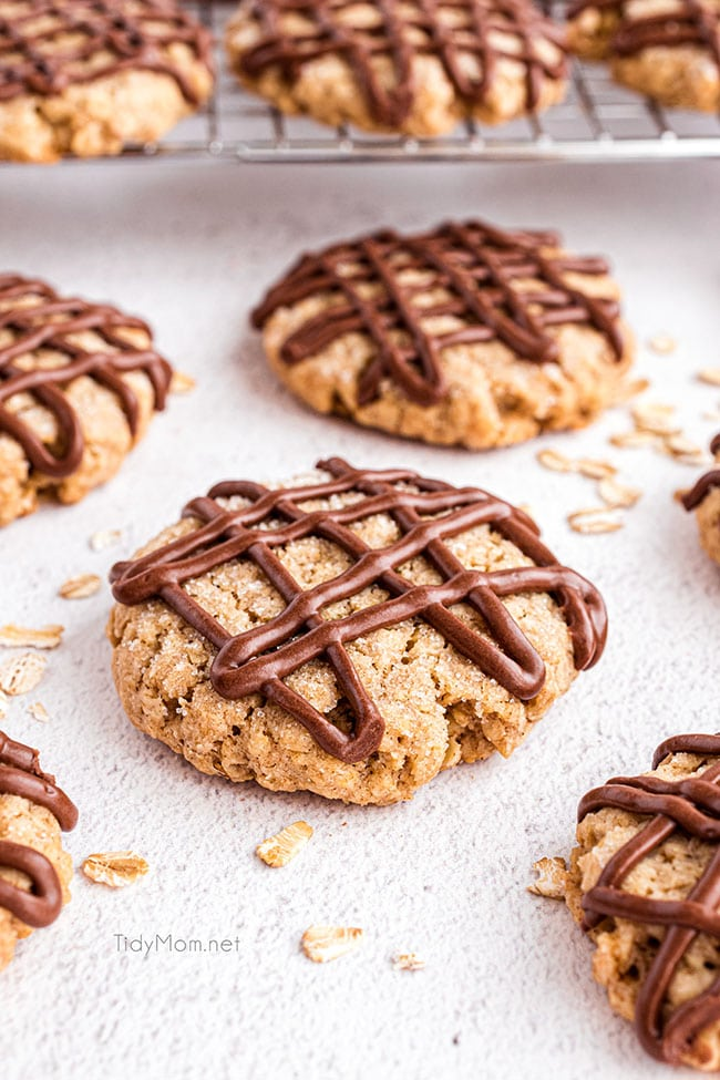 eggless oatmeal cookies with chocolate drizzle on a counter