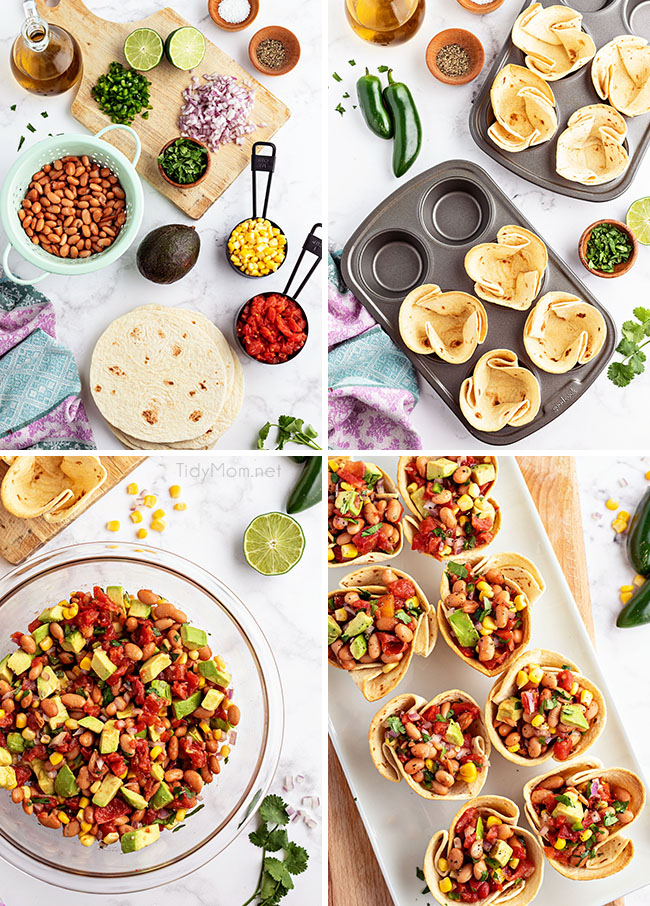 how to make tortilla cups for texas caviar
