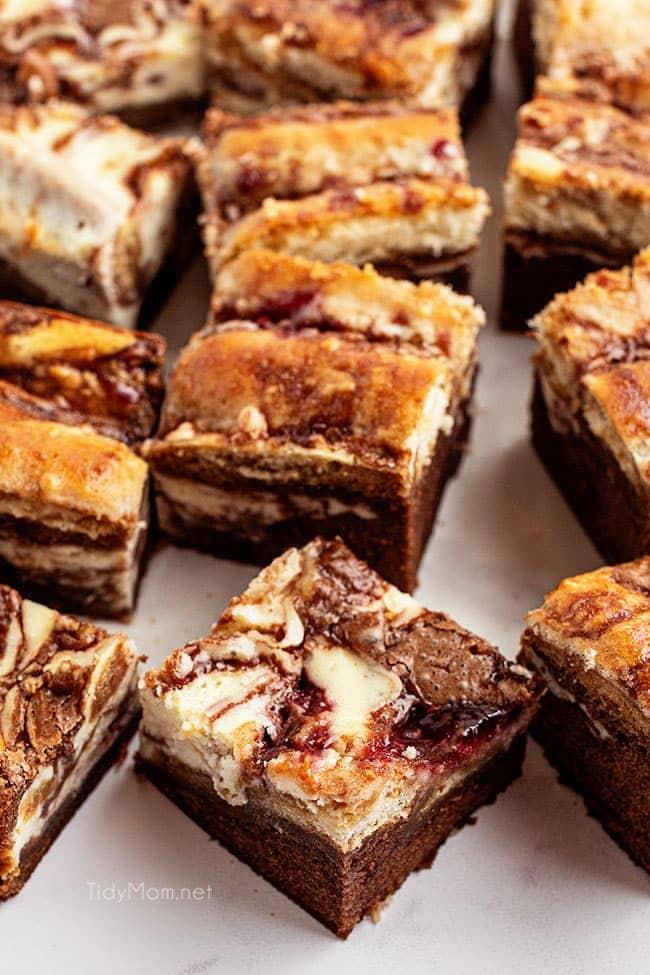 Tiramisu Brownies cut into servings on a counter