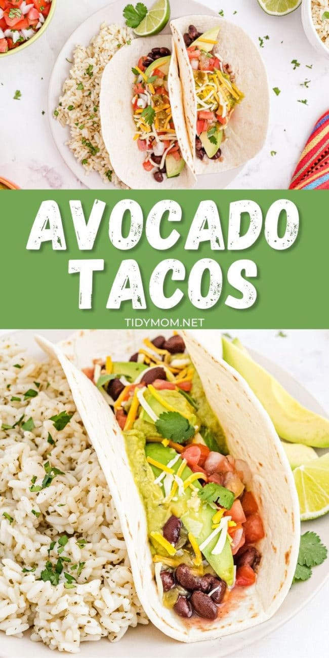 avocado tacos on plates with a side of rice