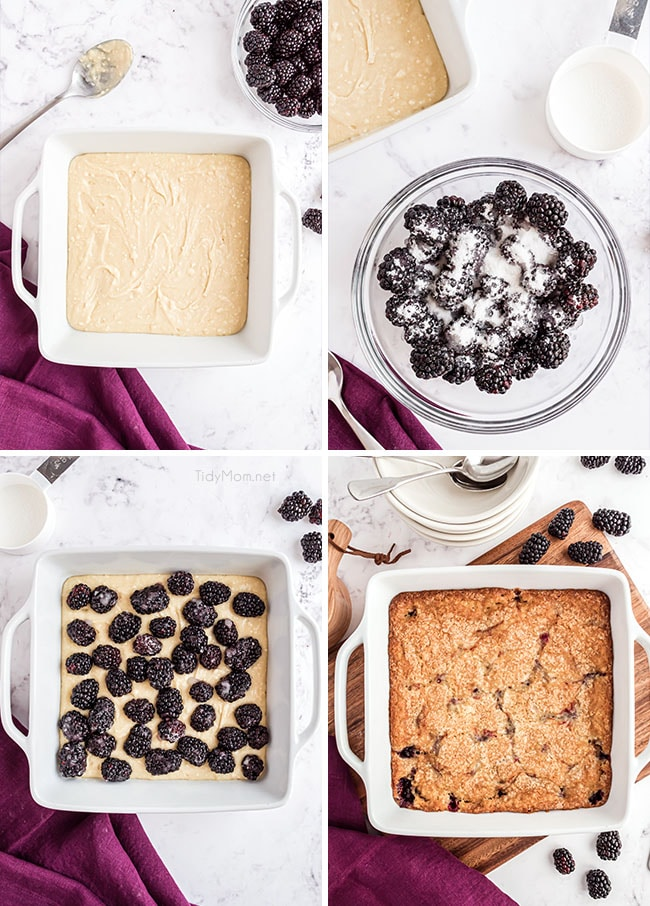 photo collage of how to make blackberry cobbler