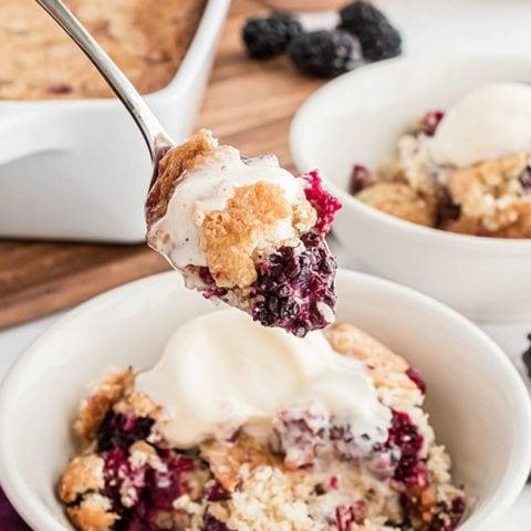 blackberry cobbler on a spoon