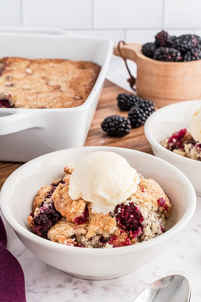 blackberry cobbler with vanilla ice cream