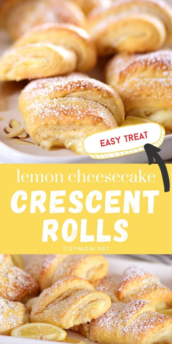 lemon cheesecake crescent rolls on white plates