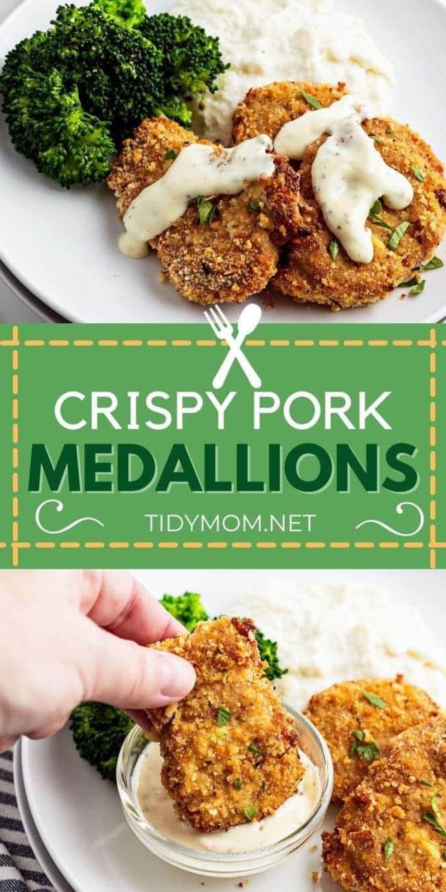crispy pork medallions photo collage