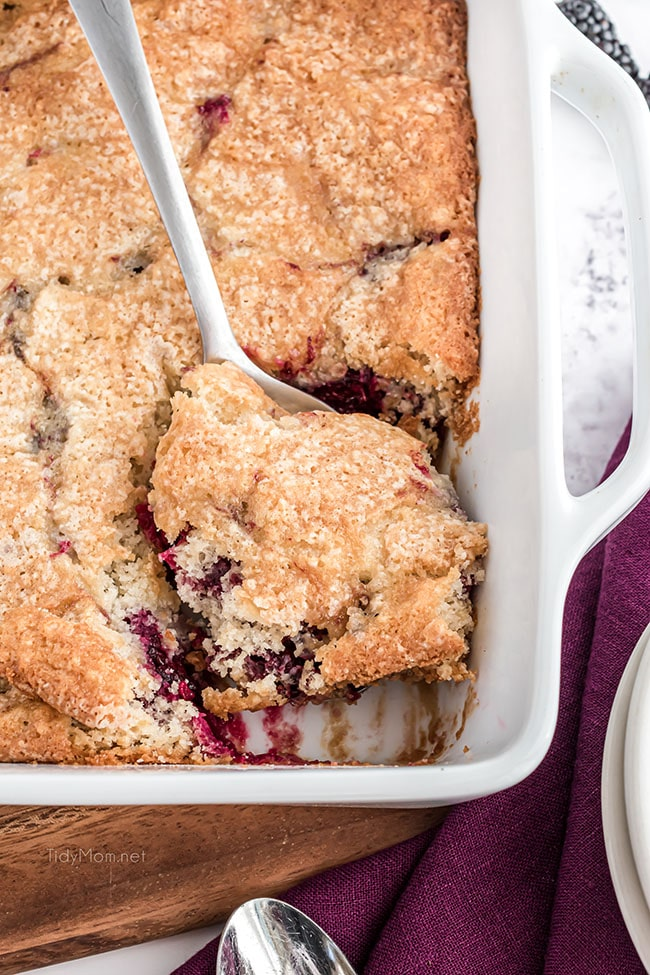 pan of blackberry cobbler with a spoon