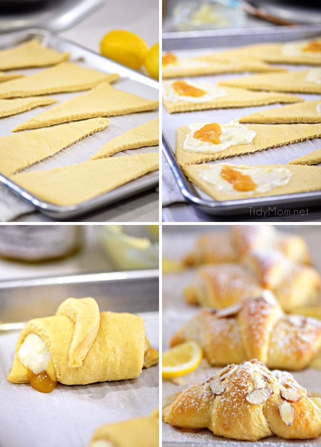 photo collage showing how to make lemon cheesecake crescent rolls