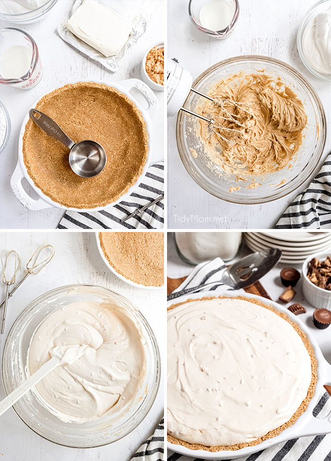 how to steps for making frozen peanut butter pie