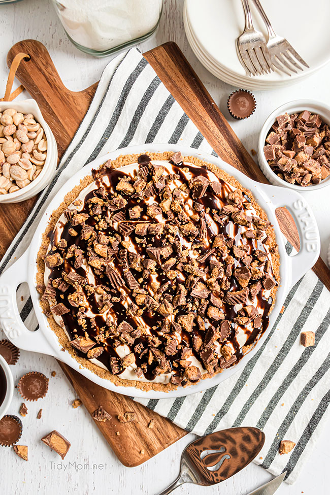 frozen peanut butter pie in a pie dish