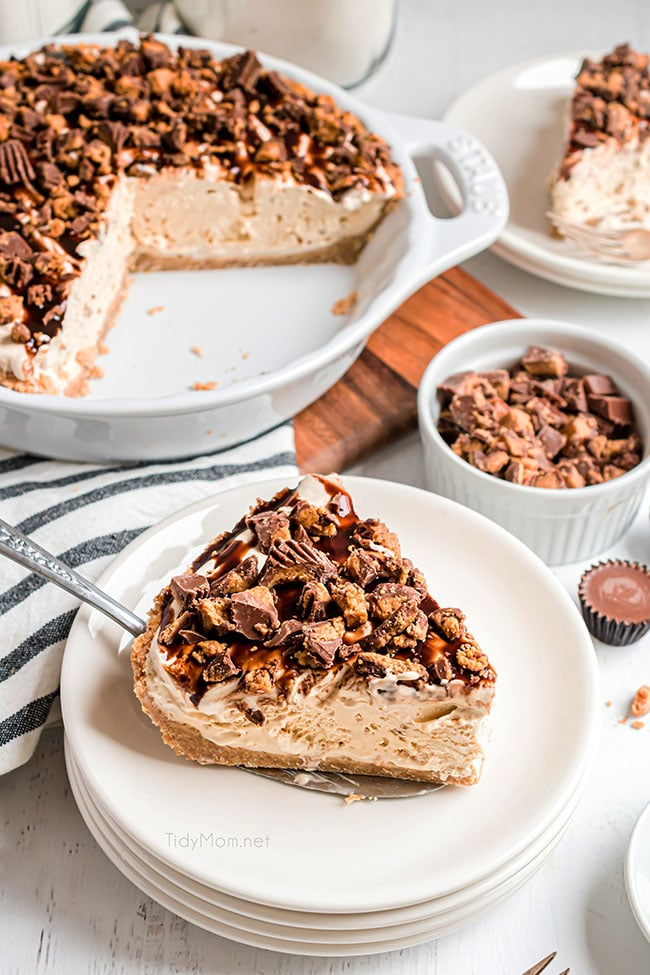 peanut butter pie on a plate and in a pie dish