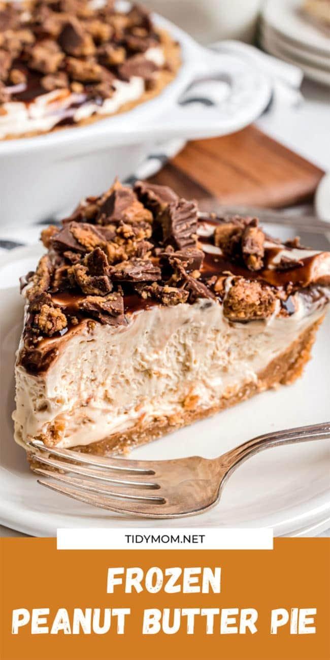 frozen peanut butter pie on a plate