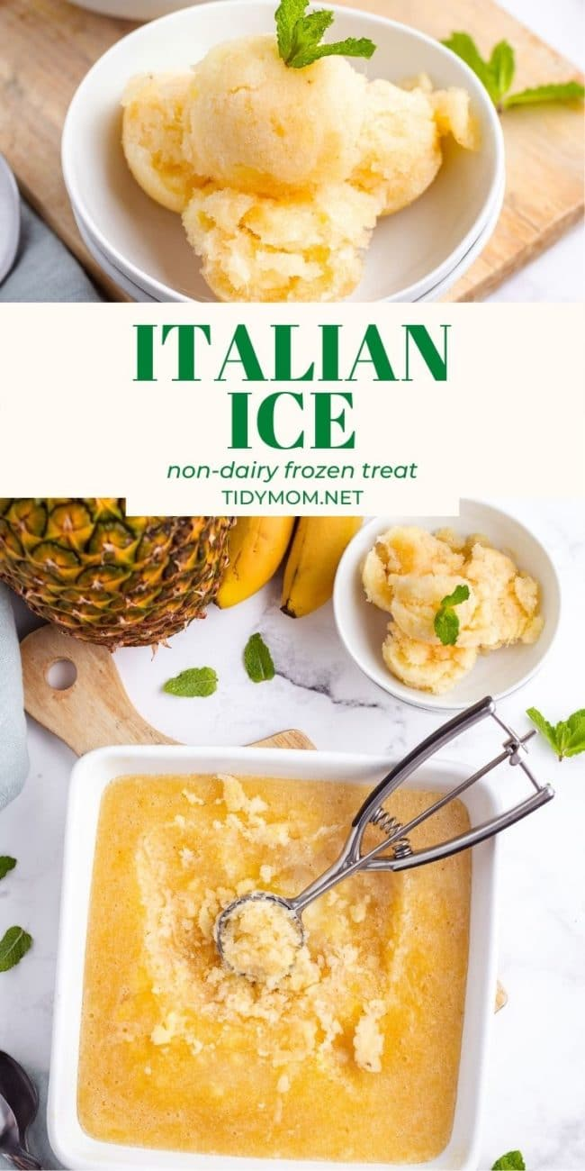 Banana Pineapple ITALIAN ICE in a bowl and in a square pan