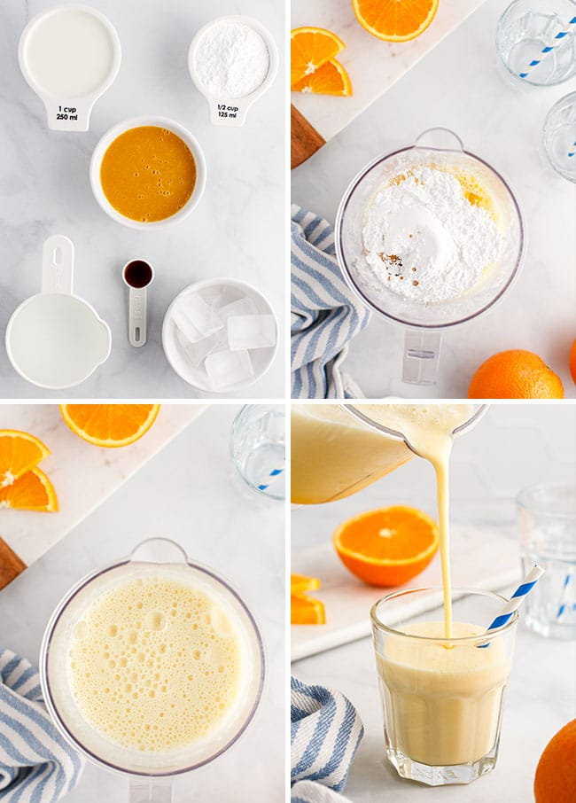how to steps for making an orange julius in a blender