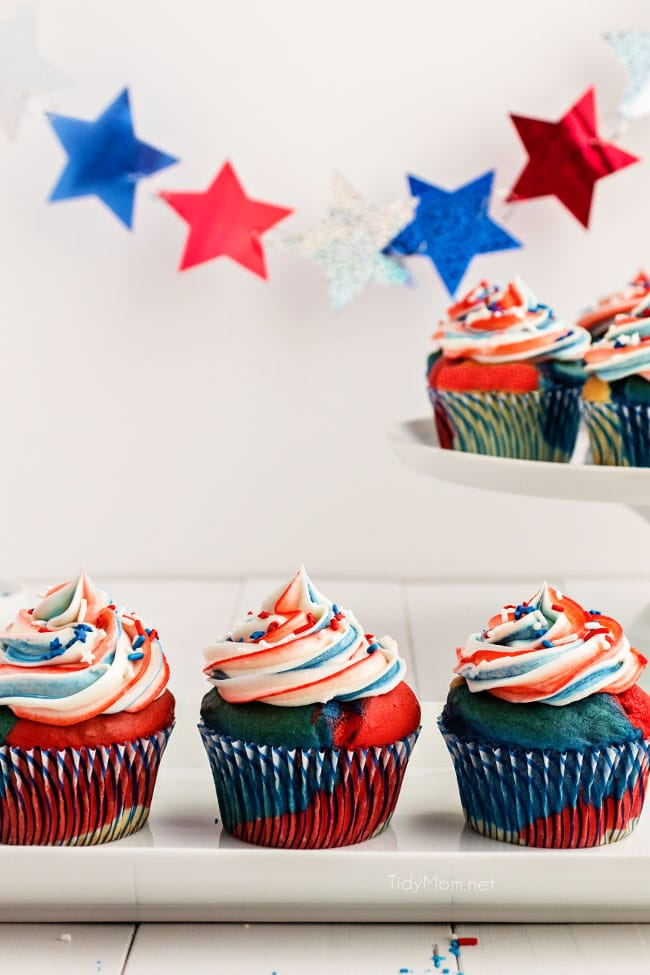 red white and blue cupcake on a platter