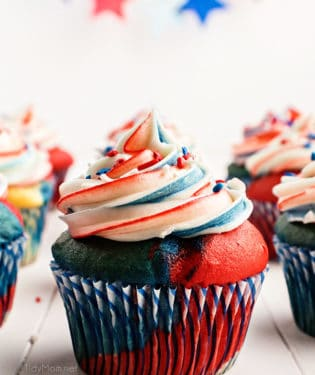 red white and blue cupcake on a table