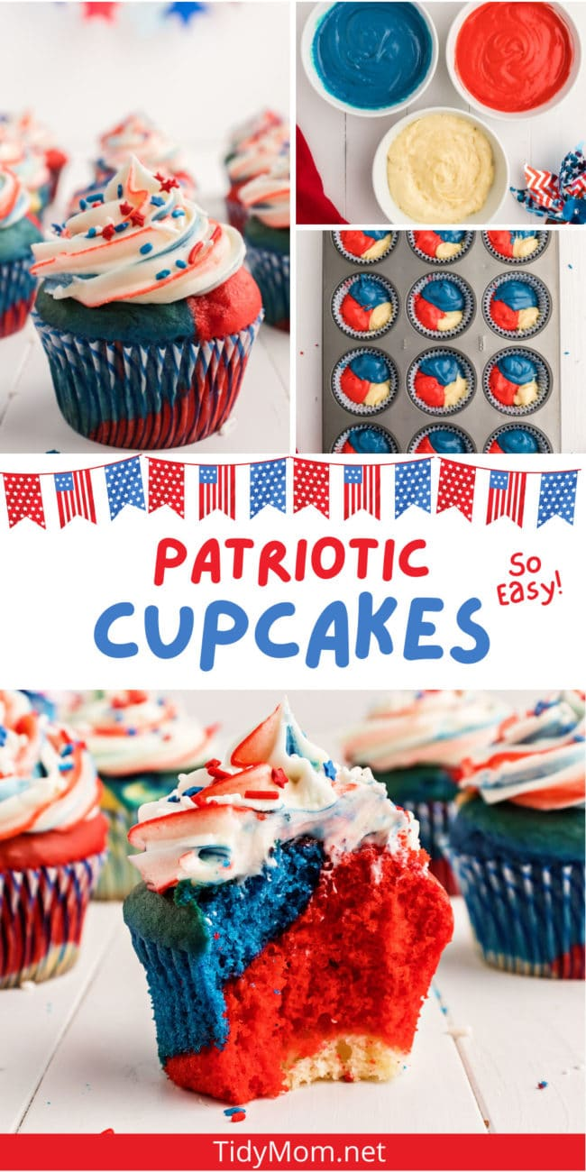 red white and blue cupcake collage