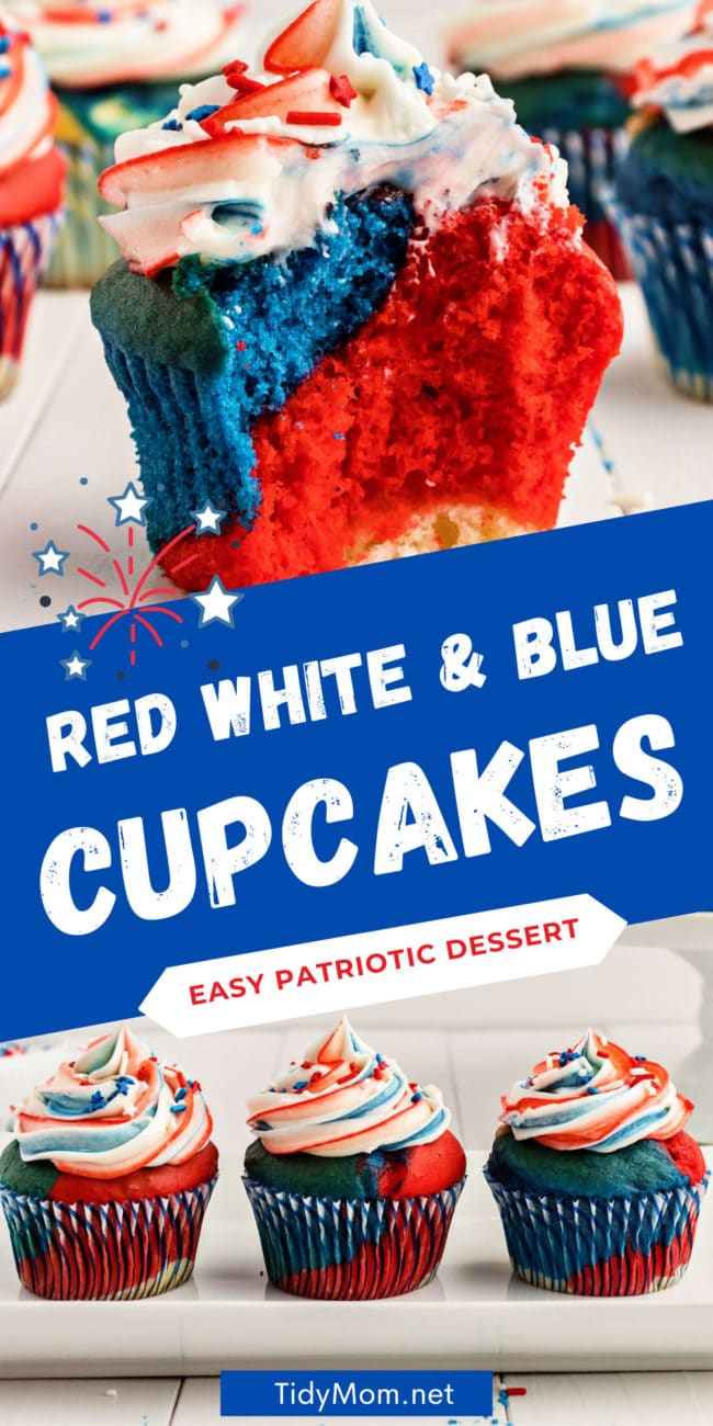 frosted red white and blue cupcake