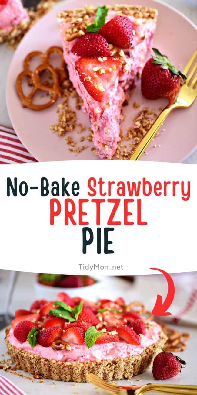 a slice of strawberry pretzel pie and the whole pie