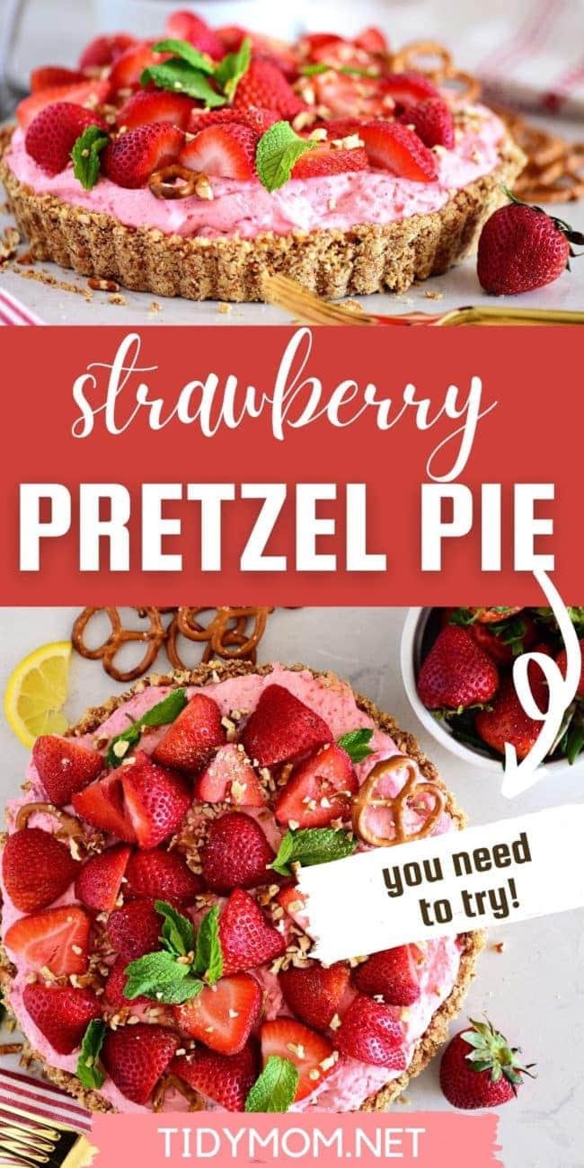 STRAWBERRY PRETZEL PIE topped with fresh strawberries