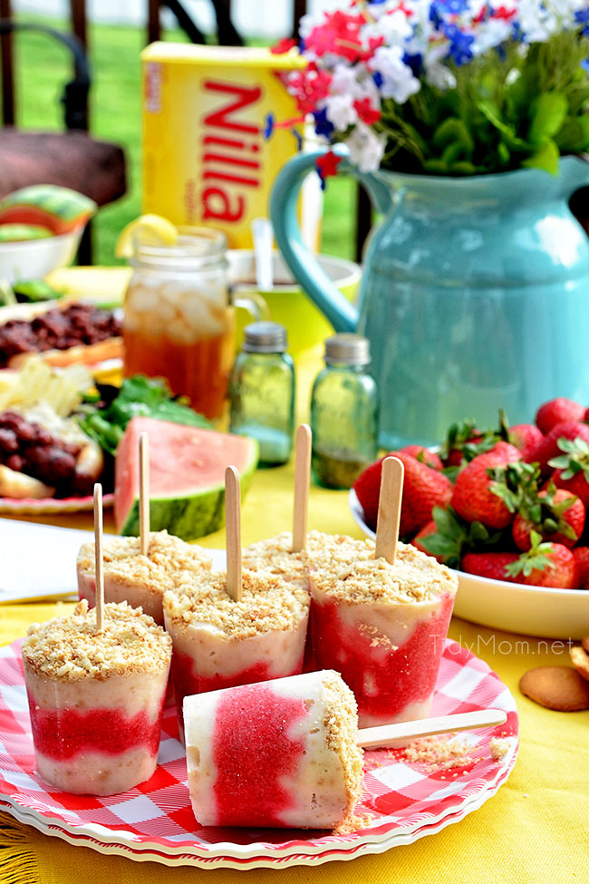 strawberry shortcake popsicles on a table