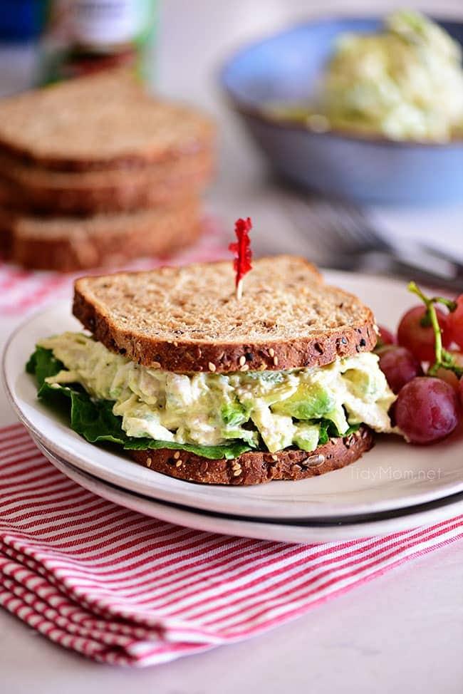avocado chicken salad sandwich with multigrain bread