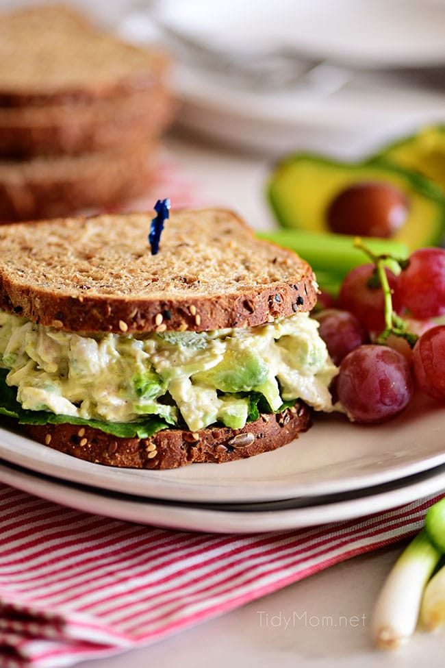 avocado chicken salad sandwich on a plate with grapes