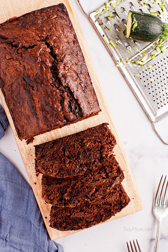 overhead look of sliced chocolate zucchini bread loaf