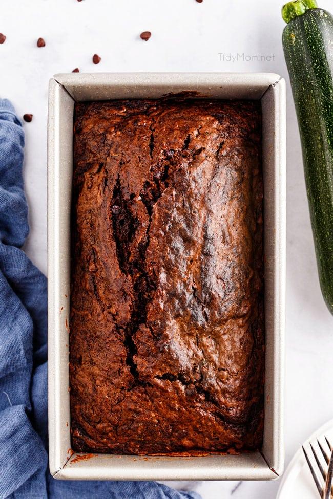 a pan of chocolate zucchini bread
