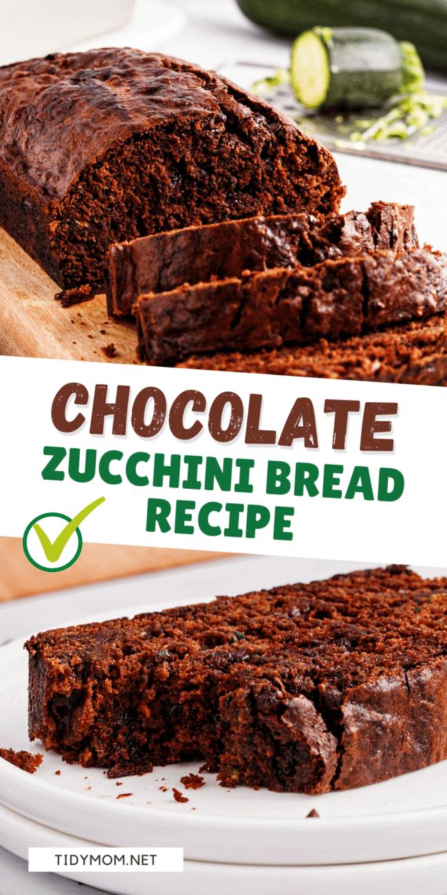 sliced chocolate zucchini bread photo collage