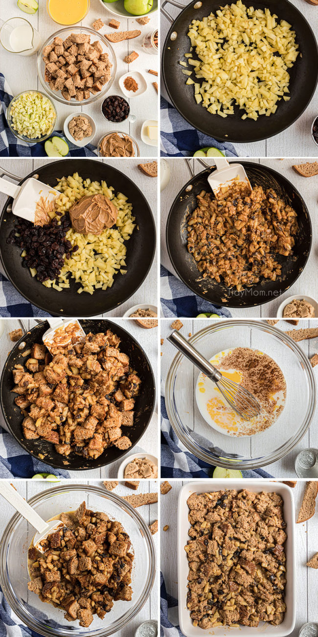 photo collage of steps on how to make apple bread pudding